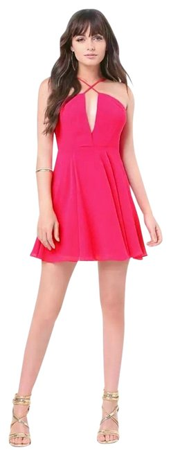 Item - Pink Cross Front Ggt Plunging Short Night Out Dress Size 8 (M)