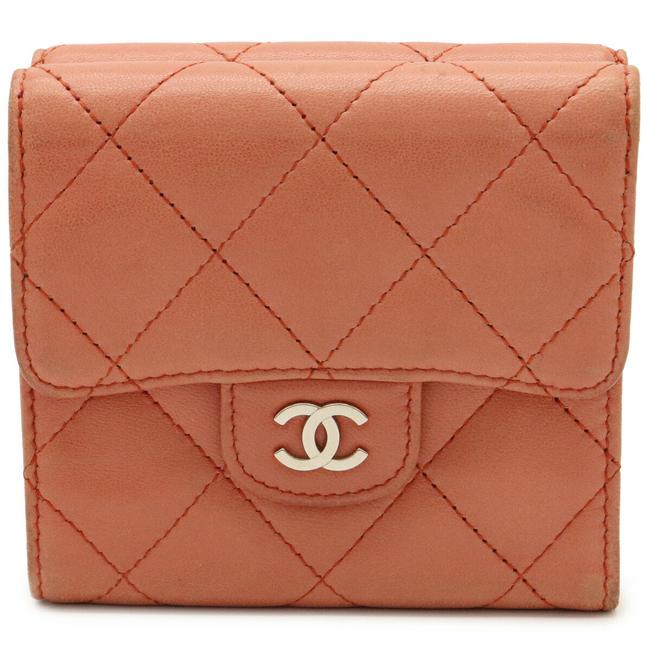 Item - Salmon Pink Matrasse Coco Mark Double Hook Tri-fold Leather Silver Hardware A81900 Wallet