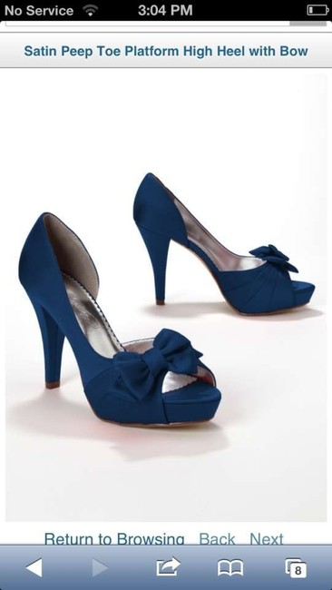 Item - Navy Maribelle Satin Peep Toe Platform High Heel with Bow Pumps Size US 8