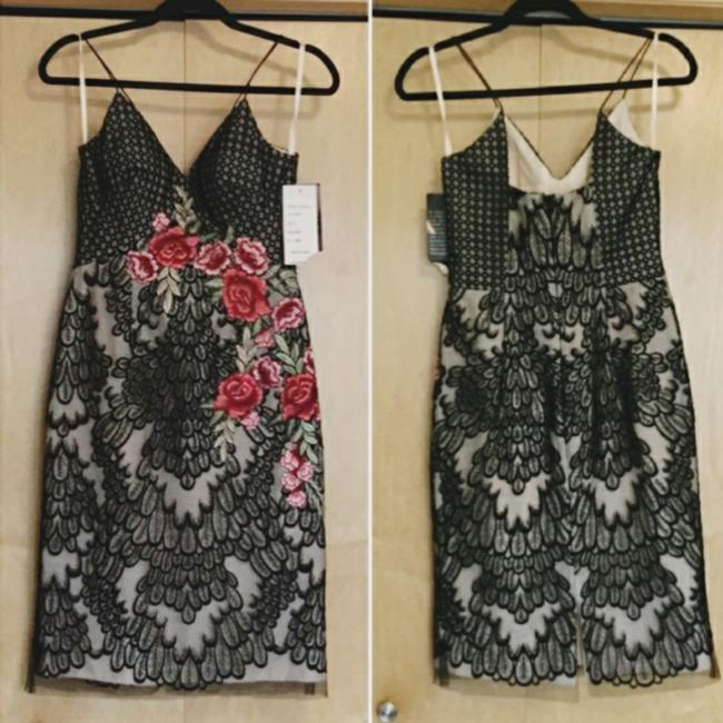 Item - and Tan Embroidered Sheer Mid-length Formal Dress Size 4 (S)