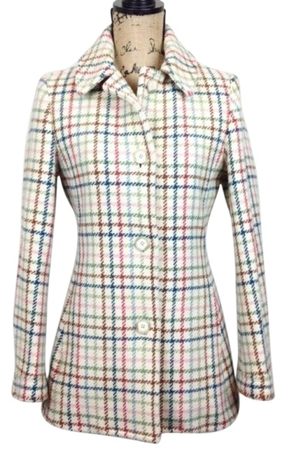 Item - Cream Tattersall Plaid Wool Coat Size 2 (XS)