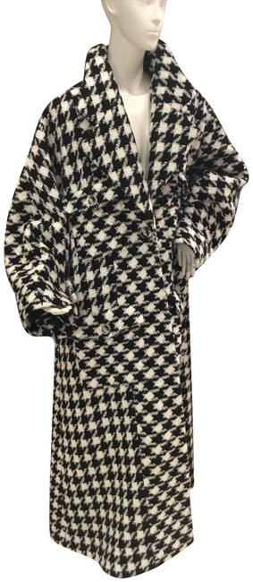 Item - Black and White Houndstooth Runway Maxi Coat Size 10 (M)