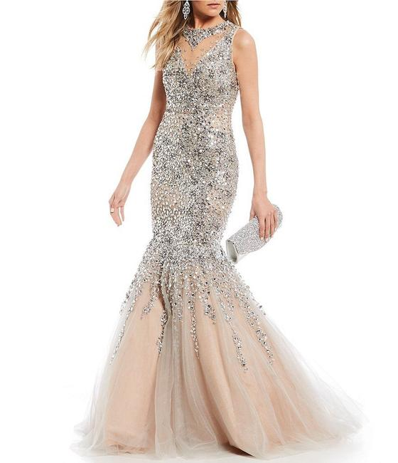 Item - Silver/Nude Glamour By Beaded Embellished Trumpet Gown Long Formal Dress Size 16 (XL, Plus 0x)