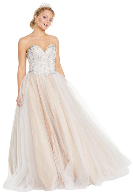 Item - Ivory/Nude Glamour By Juniors' Rhinestone Corset Ball Gown Long Formal Dress Size 8 (M)