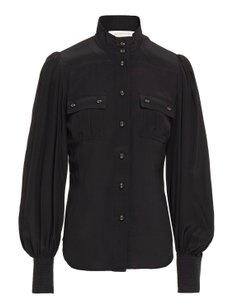 Item - Black Gathered Silk Crepe De Chine Shirt Blouse