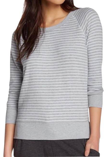Item - Gray and White Striped Pullover Sweatshirt/Hoodie Size 4 (S)