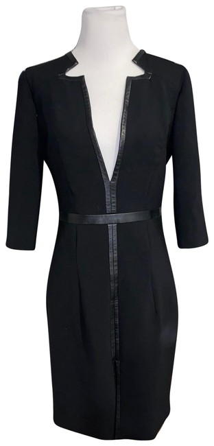Item - Black Leather Trimmed Mid-length Short Casual Dress Size 4 (S)