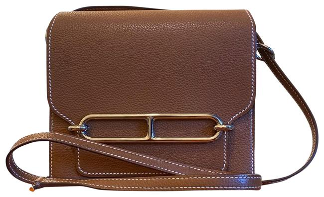 Item - Roulis Mini Gold/Silver Togo Leather Cross Body Bag