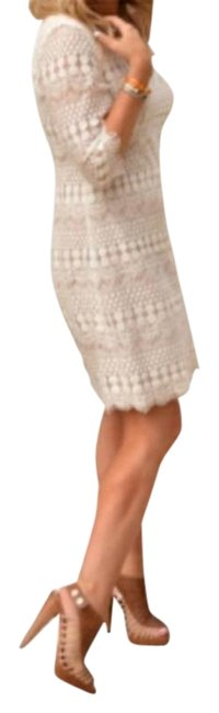 Item - Ivory Beige 3/4 Sleeve Lace Shift Short Night Out Dress Size 12 (L)