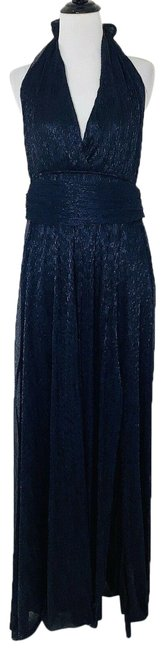 Item - Blue Halter Shinny Maxi Cocktail Party Sexy Slit Backless Long Night Out Dress Size 8 (M)