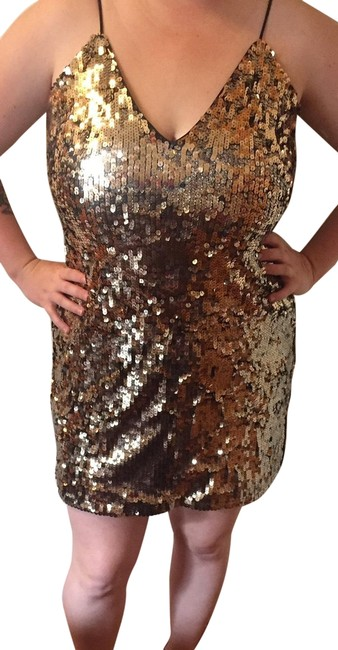 Item - Gold Sequined Short Night Out Dress Size 12 (L)
