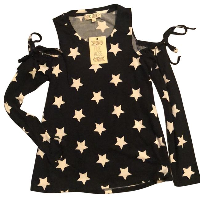Item - Navy and White Cold Shoulder Stars Tunic Size 4 (S)