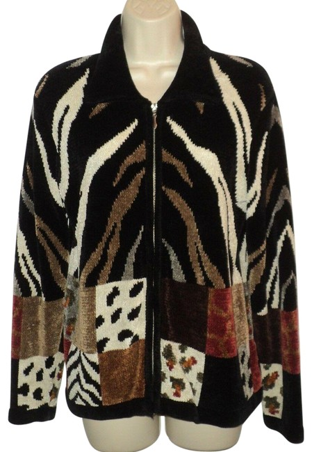 Item - Black Browns Cream Rust Velour Animal Print Front Zipped No Lining Jacket Size 6 (S)