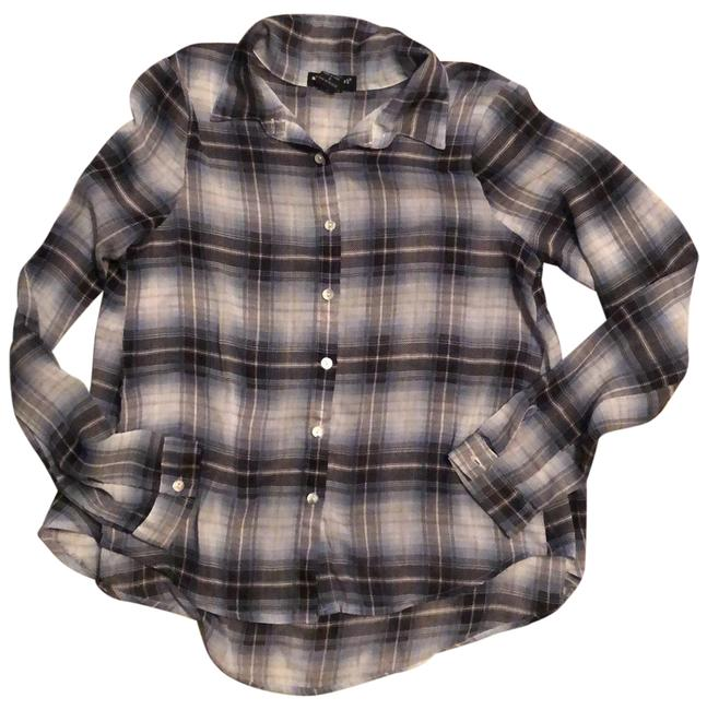 Item - Blue and White Plaid Button-down Top Size 6 (S)
