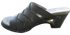 Dansko Sandals Leather Woven Black Mules
