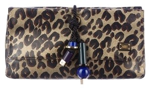 Louis Vuitton Limited Edition Couture Gold metallic, black & brown Clutch