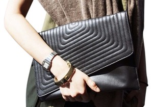 Emilie M Midnight Vegan Leather Black Clutch
