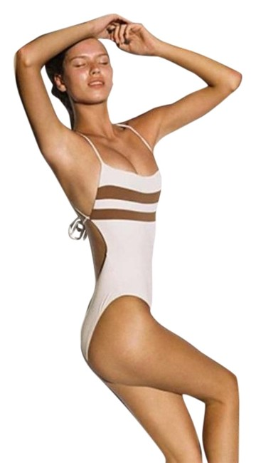 L*Space Cream Tan L High Impact One-piece Bathing Suit Size 8 (M) L*Space Cream Tan L High Impact One-piece Bathing Suit Size 8 (M) Image 1