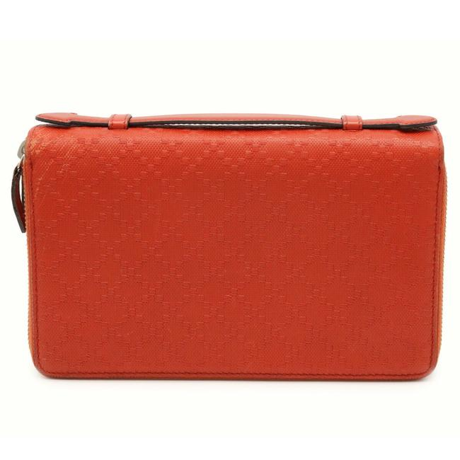 Item - Orange Red Clutch Diamante Travel Case Second Bag Double Round Zipper Leather 336298 Wallet
