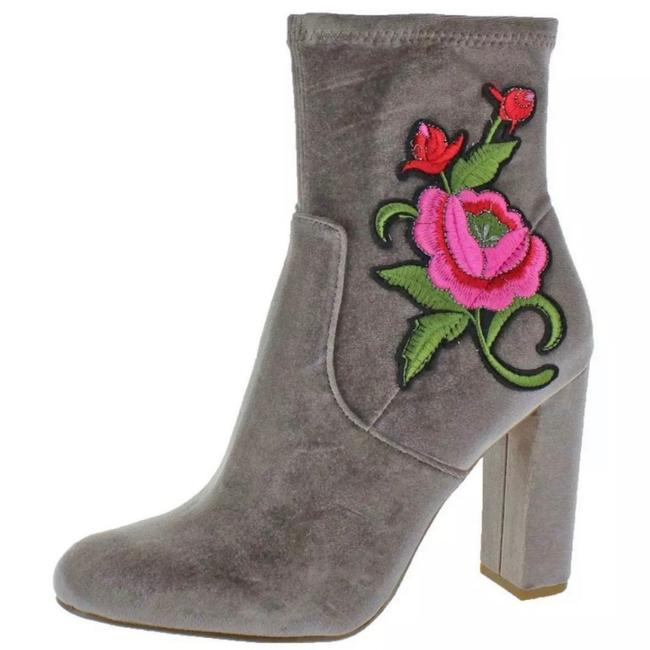 Item - Gray Edition Embroidered Velvet Boots/Booties Size US 8 Regular (M, B)