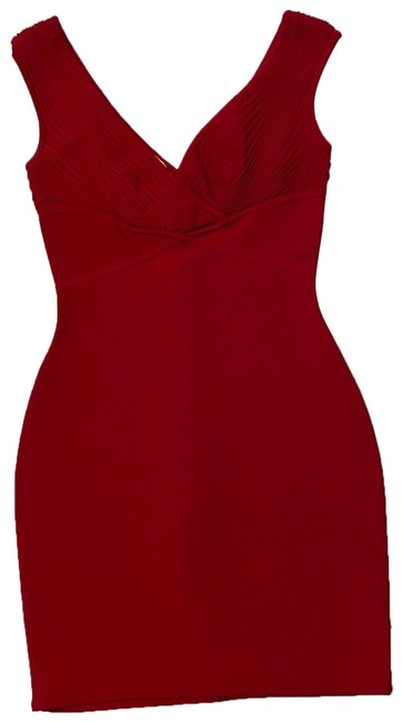 Item - Red Sexy Bodycon Mid-length Night Out Dress Size 4 (S)