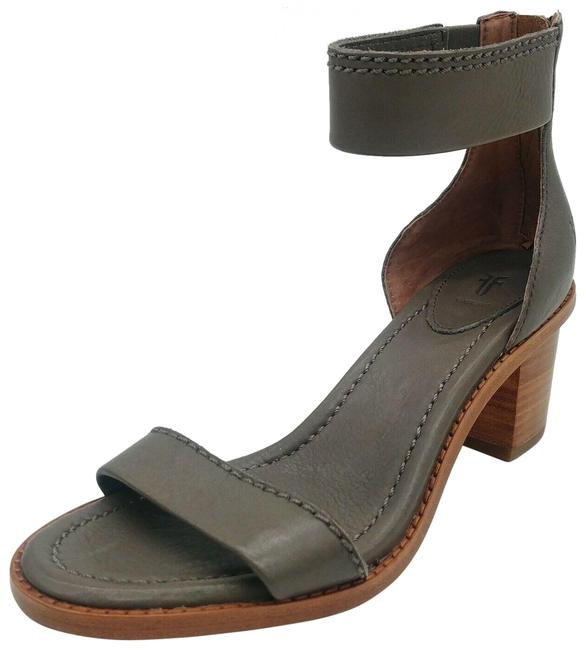 Item - Gray Womens Brielle Charcoal Back Zip Heeled Ankle Strap Sandals Size US 7.5 Regular (M, B)