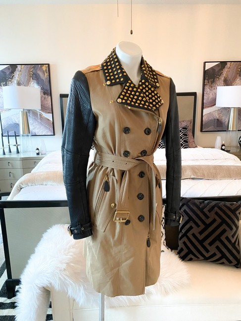 Burberry Brit Black & Tan Two Tone Gold Studded M Coat Size 8 (M) Burberry Brit Black & Tan Two Tone Gold Studded M Coat Size 8 (M) Image 12
