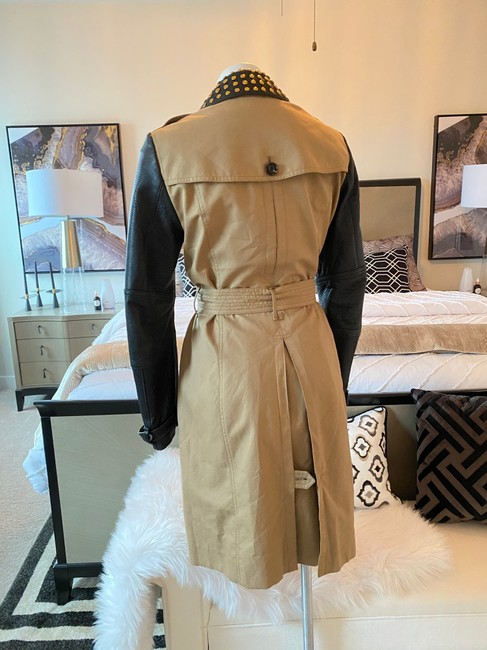 Burberry Brit Black & Tan Two Tone Gold Studded M Coat Size 8 (M) Burberry Brit Black & Tan Two Tone Gold Studded M Coat Size 8 (M) Image 6