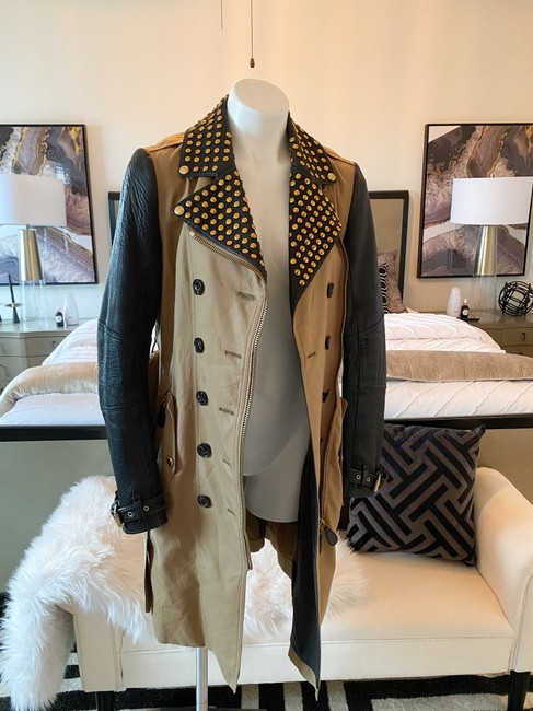 Burberry Brit Black & Tan Two Tone Gold Studded M Coat Size 8 (M) Burberry Brit Black & Tan Two Tone Gold Studded M Coat Size 8 (M) Image 8