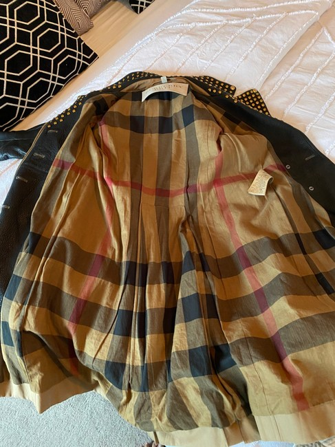 Burberry Brit Black & Tan Two Tone Gold Studded M Coat Size 8 (M) Burberry Brit Black & Tan Two Tone Gold Studded M Coat Size 8 (M) Image 9