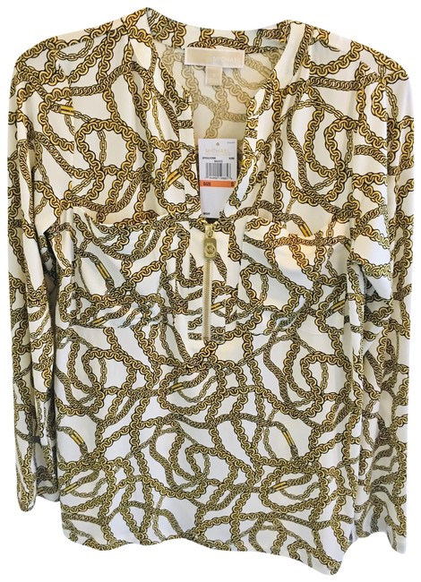 Item - Gold / White. Chain New Blouse Size 6 (S)