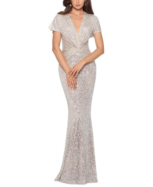 Item - Silver Twist Twist-front Sequined Gown Long Formal Dress Size 12 (L)
