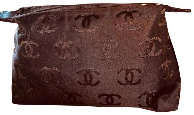 Item - Embossed Embroidered Pouch Brown Gold Nylon Clutch
