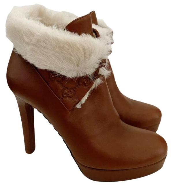 Item - Brown Cream Gg Fur Leather Ankle Heels Boots/Booties Size EU 37.5 (Approx. US 7.5) Regular (M, B)