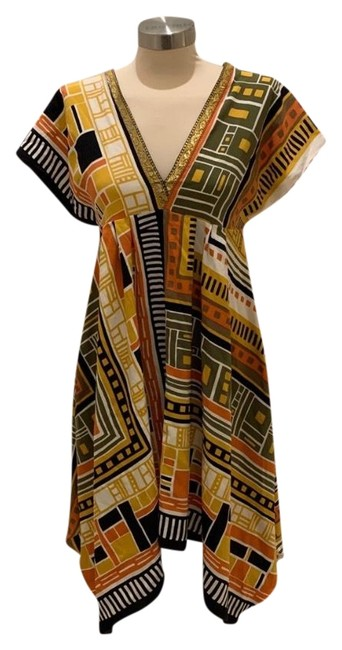 Item - Multicolor Silk Geometric Mid-length Night Out Dress Size 6 (S)