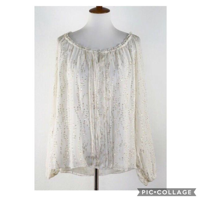 Item - I Pry and Gold Metallic Silk Long Sleeve Peasant Blouse Size 00 (XXS)