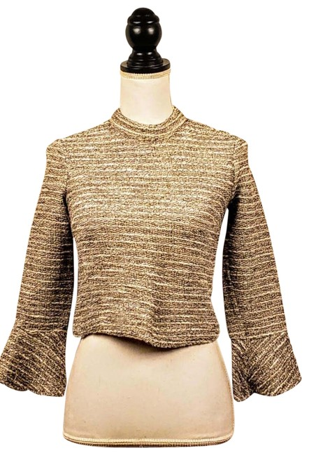 Item - Woman Cropped Gray Gold Sweater