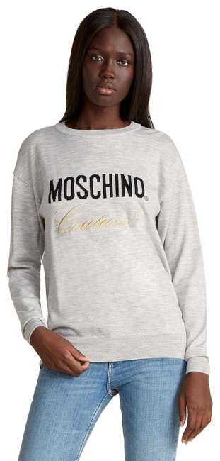 Item - Couture Embroided Grey Gold Black Sweater