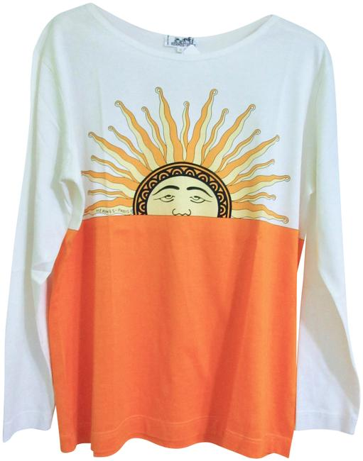 Item - Orange and White Sun Graphic Signed Very Rare Long Sleeve Tee Shirt Size 8 (M)