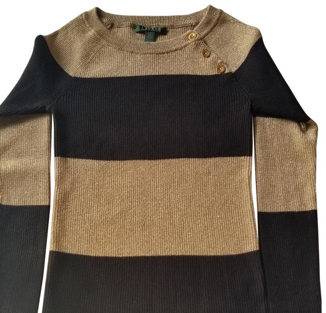 Item - Metallic Cotton Blend Gold and Black Sweater