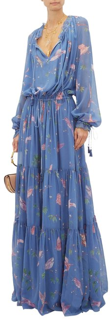 Item - Blue Multiple 44(12) Currie Hummingbirdrint Tiered Long Formal Dress Size 12 (L)