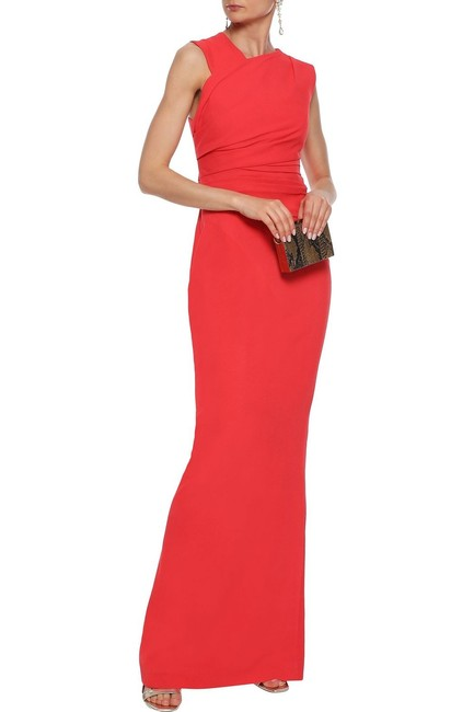 Item - Red Atlas Pleated Crepe Gown Long Formal Dress Size 2 (XS)