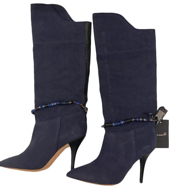 Item - Blue Denim Black Leather Blue/Black/Silver Beads Boots/Booties Boots/Booties Size EU 40 (Approx. US 10) Regular (M, B)