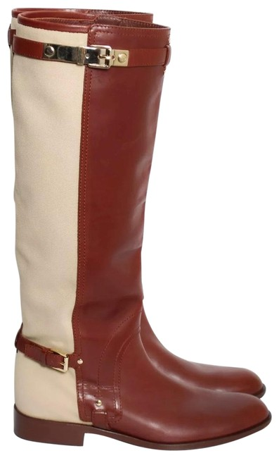 Item - Brown Tan Women Beige Jumping Leather Canvas Boots/Booties Size US 9 Regular (M, B)