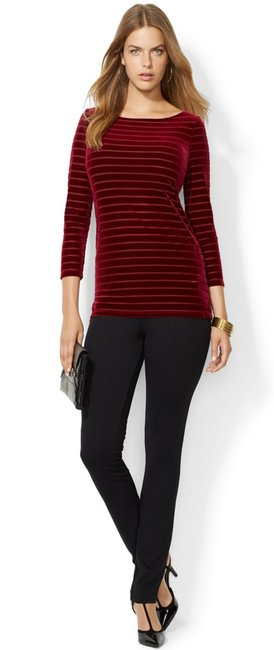 Item - Claret Velour Striped Design 3/4-sleeve Style No. 200530299003 Maroon Top