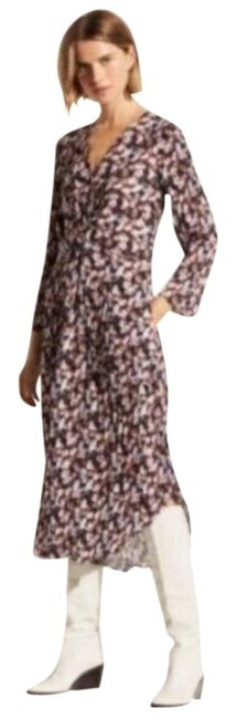 Item - Pink Black Twist Micro Painted Floral Mid-length Casual Maxi Dress Size 6 (S)