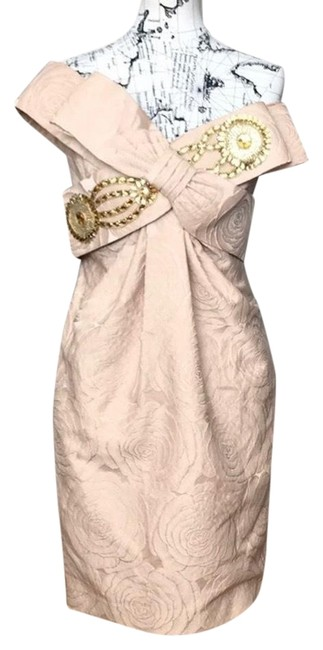 Item - Gold Brocade Knot Bow Embellished Off Shoulder Beaded Jacquard Floral Print Fit Bodice Mid-length Night Out Dress Size 6 (S)