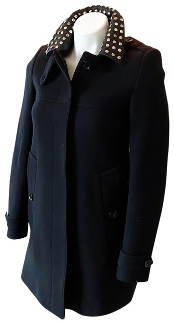 Item - Black Wool Studded Collar Coat Size 2 (XS)