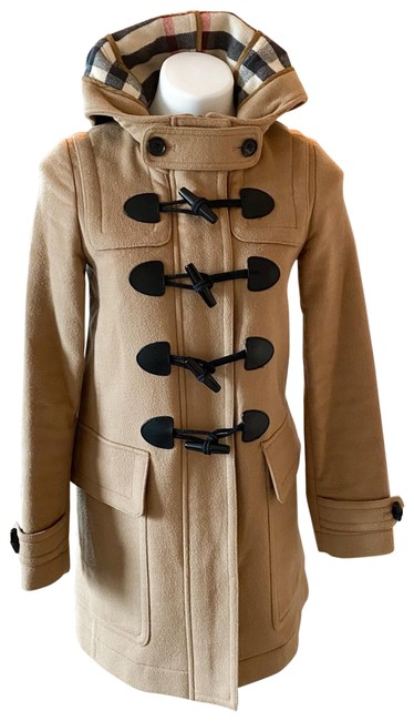 Burberry Brit Tan Wool Finsdale Toggle Hooded Coat Size 2 (XS) Burberry Brit Tan Wool Finsdale Toggle Hooded Coat Size 2 (XS) Image 1