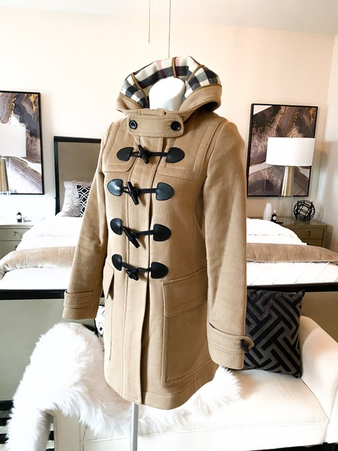 Burberry Brit Tan Wool Finsdale Toggle Hooded Coat Size 2 (XS) Burberry Brit Tan Wool Finsdale Toggle Hooded Coat Size 2 (XS) Image 2